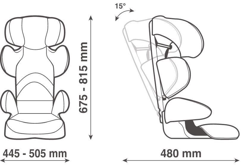 wymiary - Fotelik Takata Maxi 15-36 kg kolor Blacktive Pink