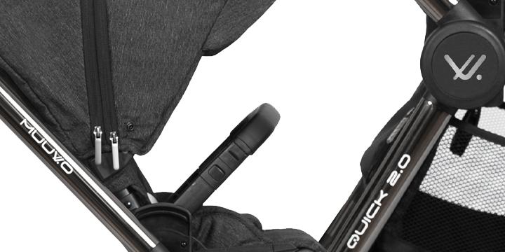 c01.2 - Muuvo Quick 2.0 - wózek wielofunkcyjny, zestaw 2w1 gondolą klasyczną kolor Black Chrome Indigo Blue