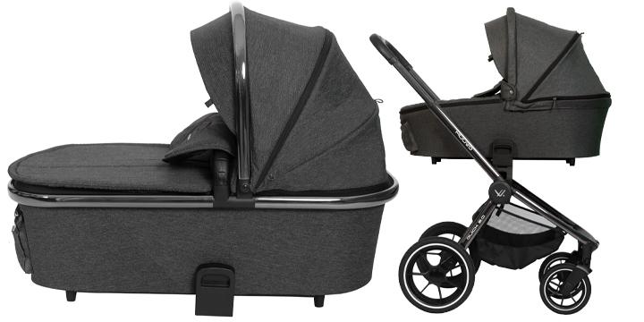 c03 - Muuvo Quick 2.0 - wózek wielofunkcyjny, zestaw 2w1 gondolą klasyczną kolor Black Chrome Indigo Blue