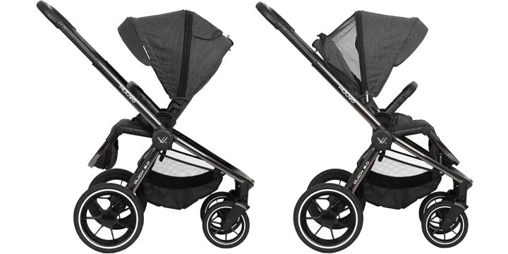 c05 - Muuvo Quick 2.0 - wózek wielofunkcyjny, zestaw 2w1 gondolą klasyczną kolor Black Chrome Indigo Blue