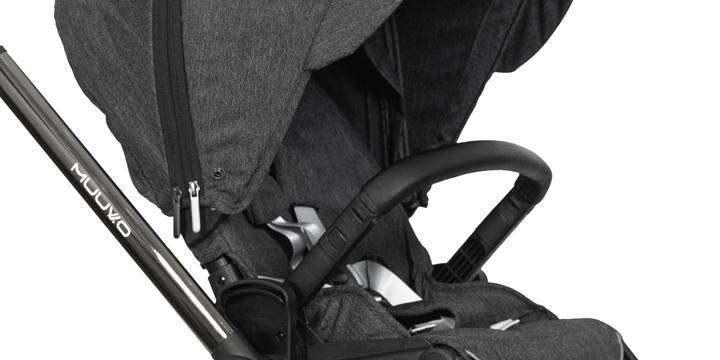 c08 - Muuvo Quick 2.0 - wózek wielofunkcyjny, zestaw 2w1 gondolą klasyczną kolor Black Chrome Indigo Blue