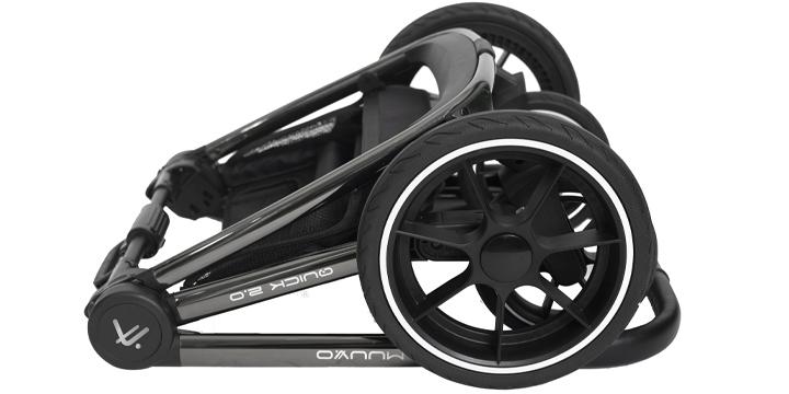 c09 - Muuvo Quick 2.0 - wózek wielofunkcyjny, zestaw 2w1 gondolą klasyczną kolor Black Chrome Indigo Blue